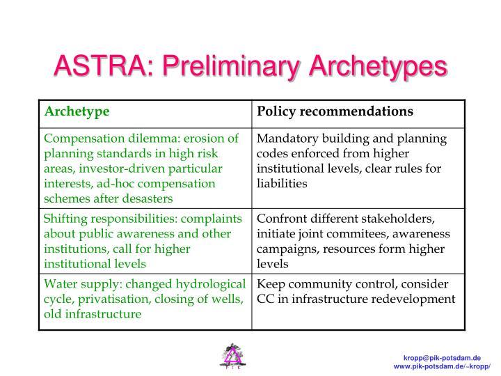 ASTRA: Preliminary Archetypes