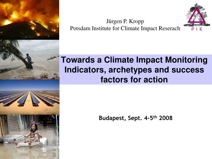towards a climate impact monitoring indicators archetypes and success factors for action