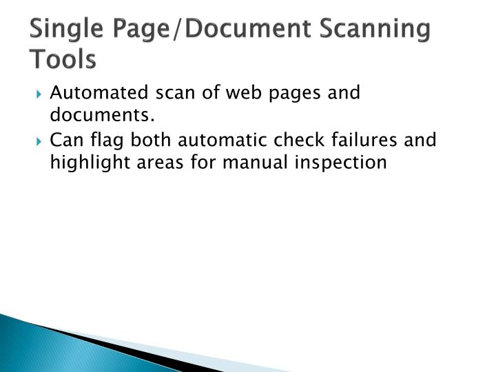 Single Page/Document Scanning Tools