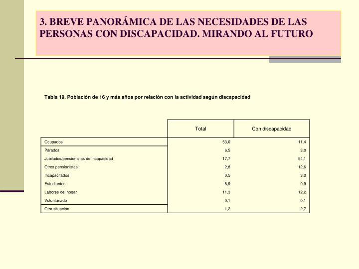 3. BREVE PANORÁMICA DE LAS NECESIDADES DE LAS PERSONAS CON DISCAPACIDAD. MIRANDO AL FUTURO