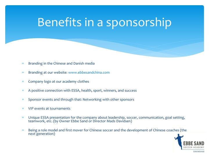 Benefits in a sponsorship