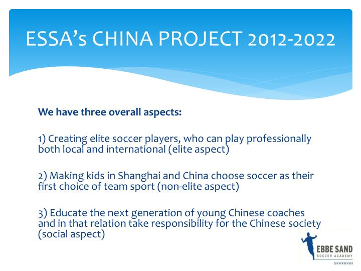 Essa s china project 2012 2022