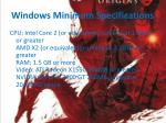 windows minimum specifications