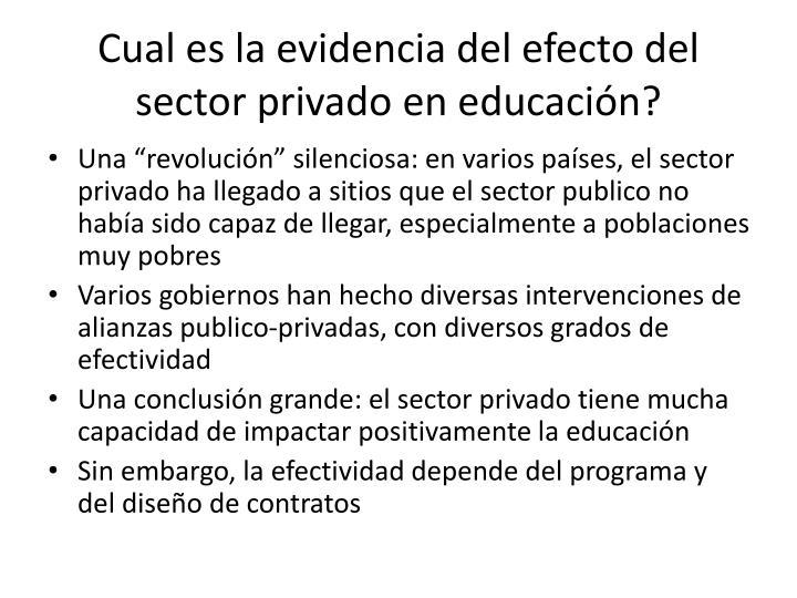 Cual es la evidencia del efecto del sector privado en educación
