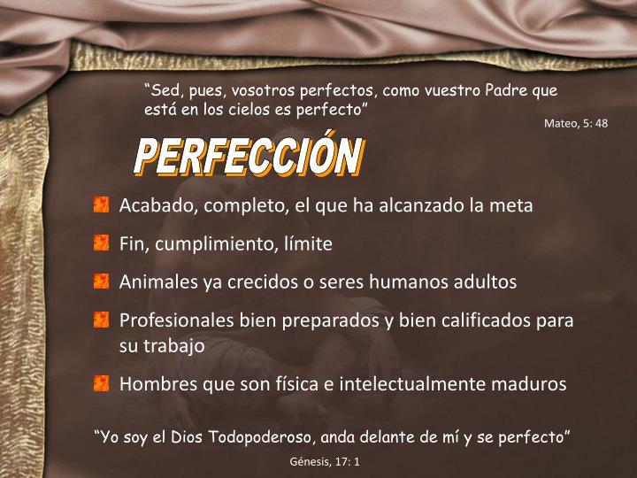 """""""Sed, pues, vosotros perfectos, como vuestro Padre que está en los cielos es perfecto"""""""