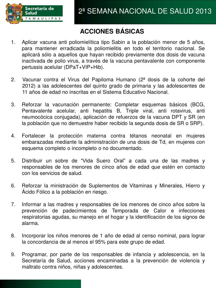 2ª SEMANA NACIONAL DE SALUD