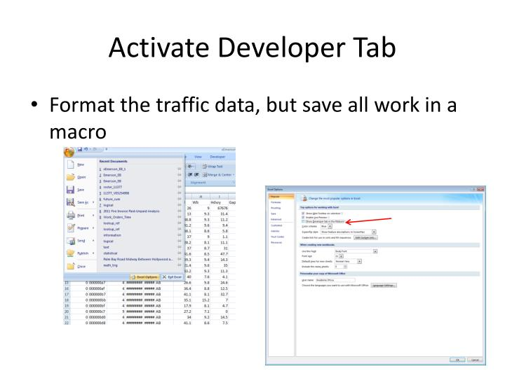Activate Developer Tab
