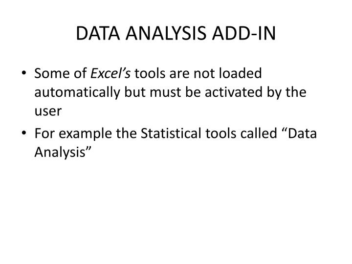 DATA ANALYSIS ADD-IN