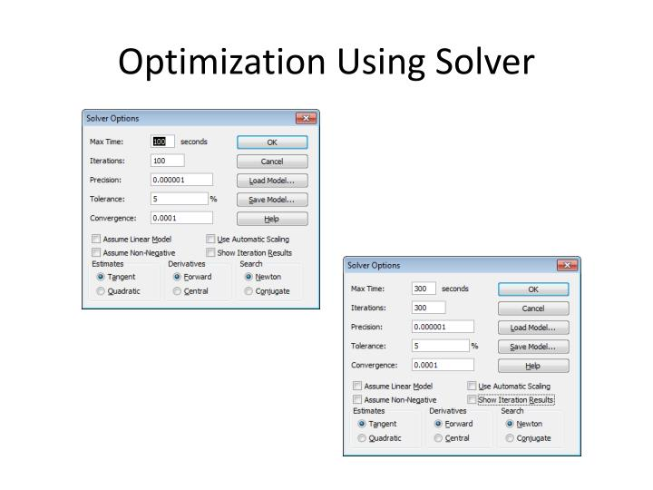 Optimization Using Solver