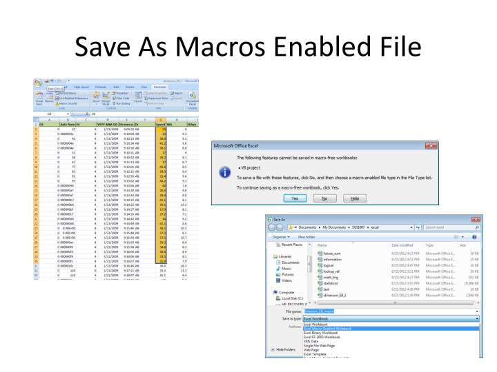 Save As Macros Enabled File