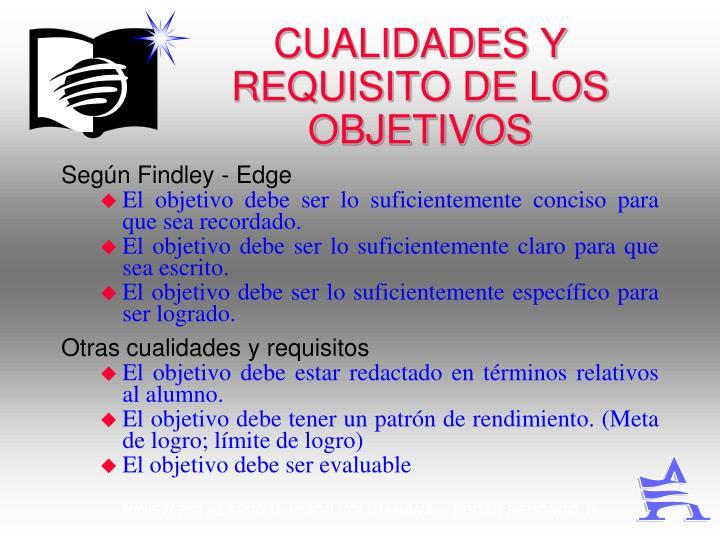 CUALIDADES Y REQUISITO DE LOS OBJETIVOS