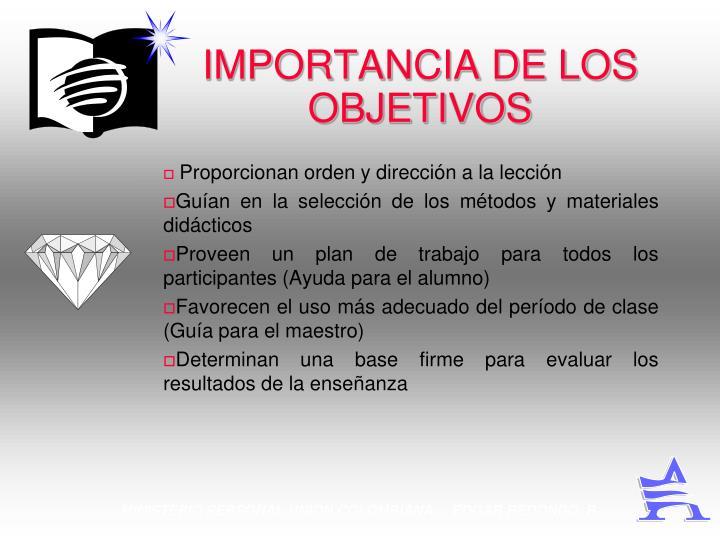 IMPORTANCIA DE LOS OBJETIVOS