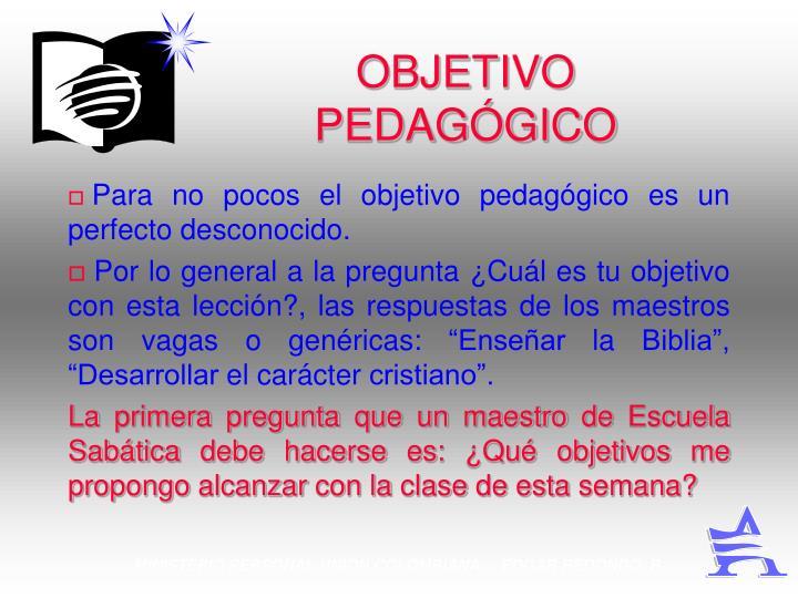 OBJETIVO PEDAGÓGICO