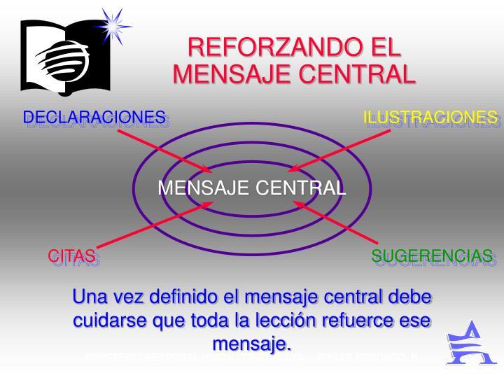 REFORZANDO EL MENSAJE CENTRAL