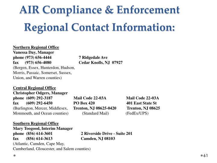 AIR Compliance & Enforcement Regional Contact Information: