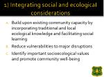 1 integrating social and ecologicai considerations