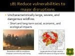 1b reduce vulnerabilities to major disruptions