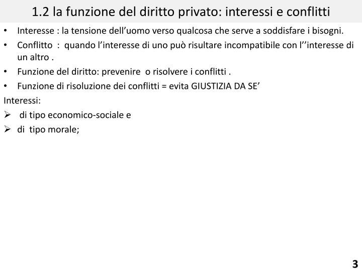 1.2 la funzione del diritto privato: interessi e conflitti