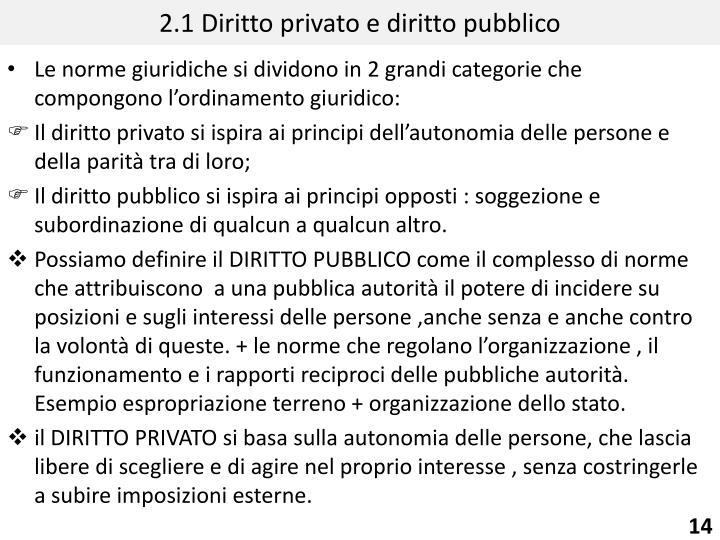 2.1 Diritto privato e diritto pubblico