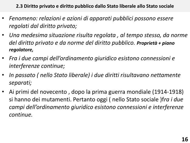2.3 Diritto privato e diritto pubblico dallo Stato liberale allo Stato sociale