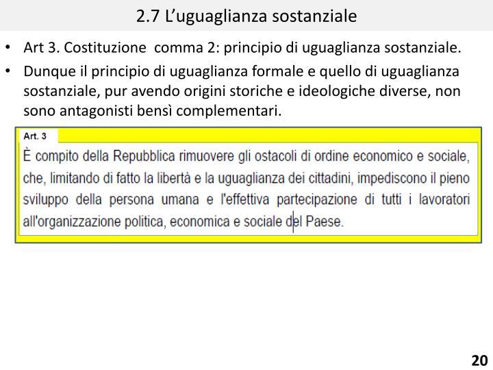 2.7 L'uguaglianza sostanziale