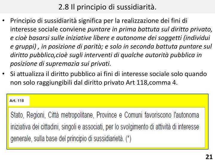 2.8 Il principio di sussidiarità.