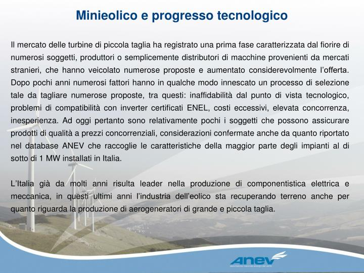 Minieolico e progresso tecnologico