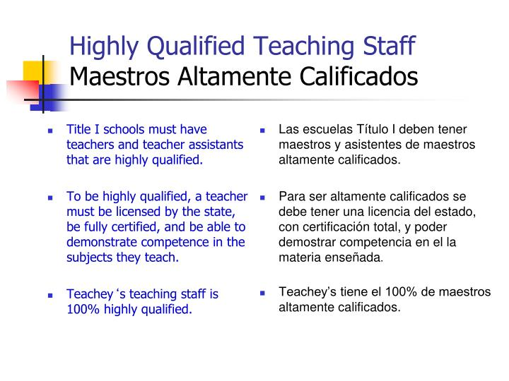 Highly Qualified Teaching Staff