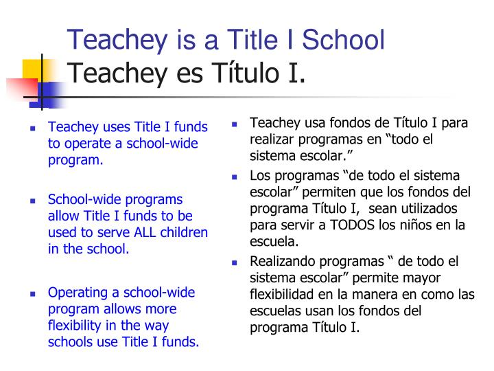 Teachey is a title i school teachey es t tulo i