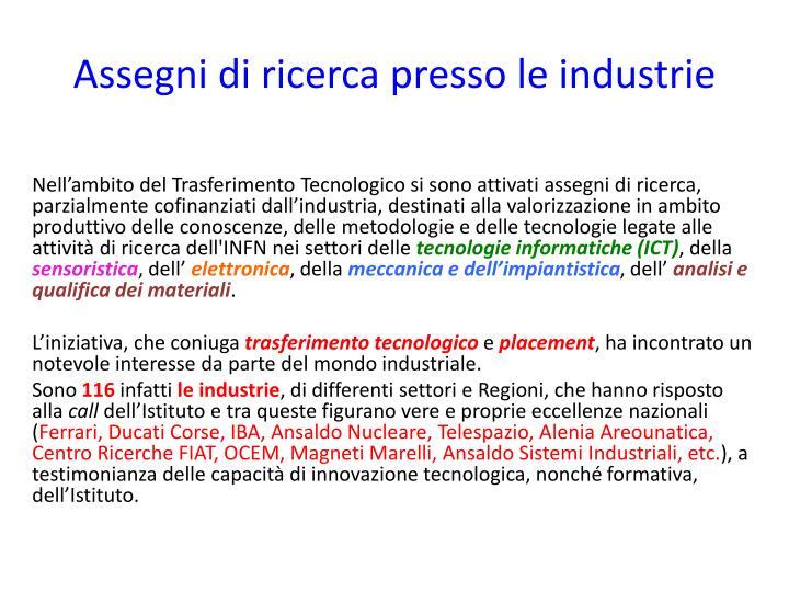 Assegni di ricerca presso le industrie