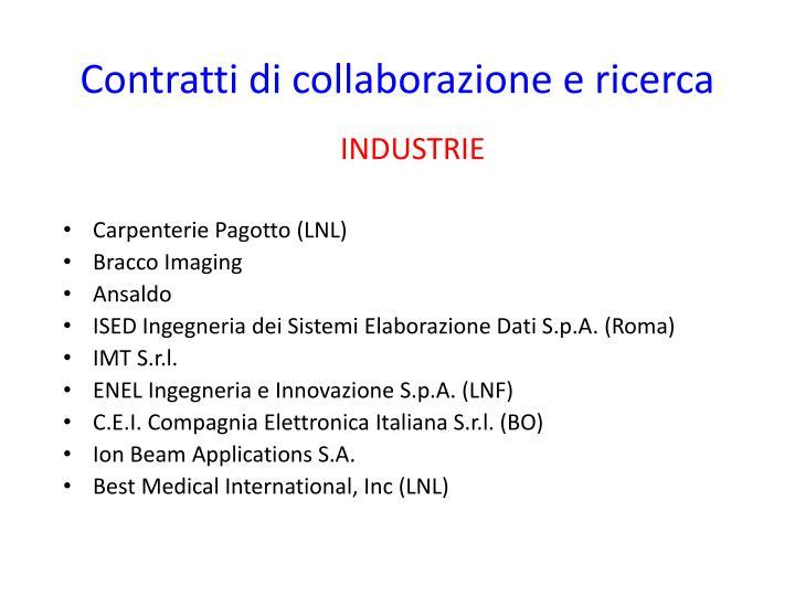 Contratti di collaborazione e ricerca