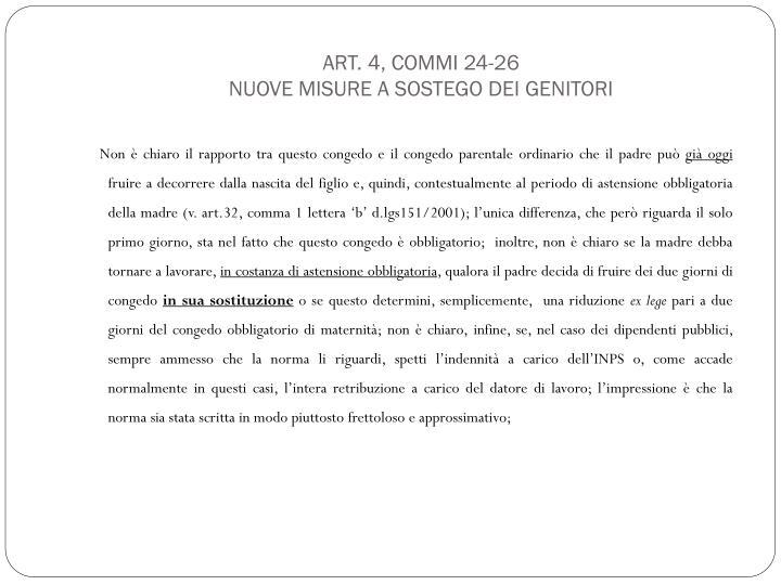 Art. 4, commi 24-26