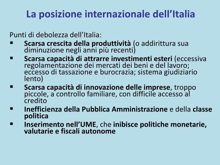 La posizione internazionale dell'Italia