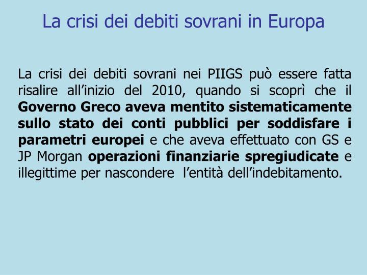 La crisi dei debiti sovrani in Europa
