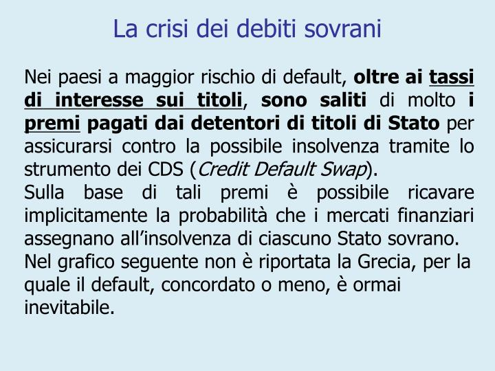 La crisi dei debiti sovrani