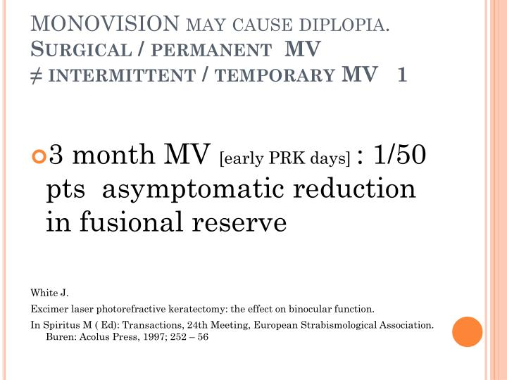 MONOVISION may cause diplopia.