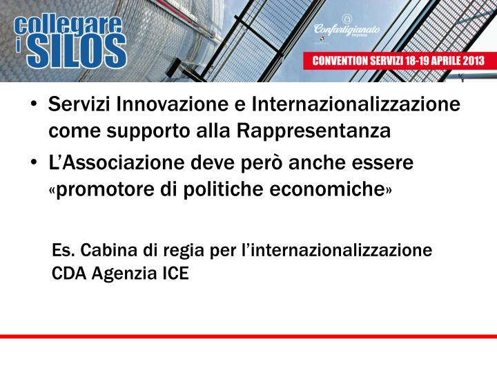 Servizi Innovazione e Internazionalizzazione come supporto alla Rappresentanza