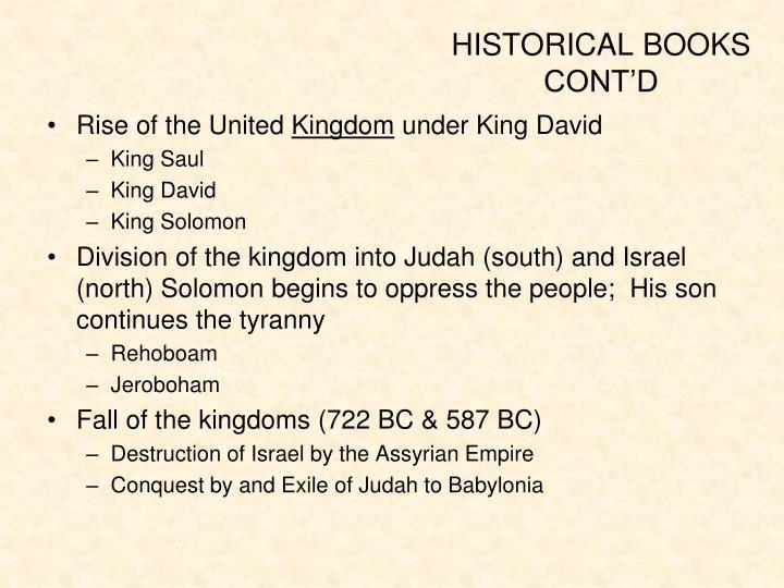 HISTORICAL BOOKS CONT'D