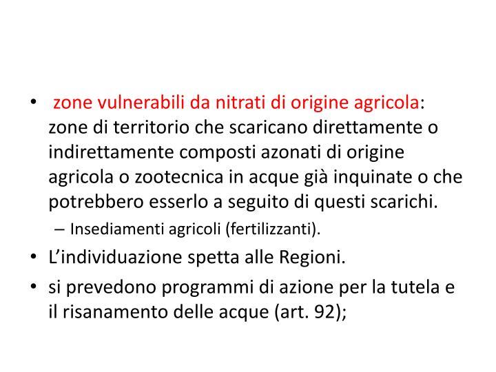 zone vulnerabili da nitrati di origine agricola