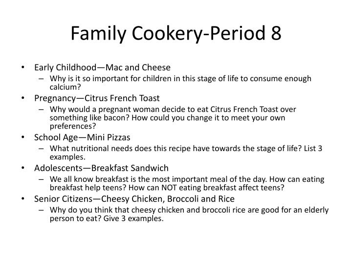 Family cookery period 8