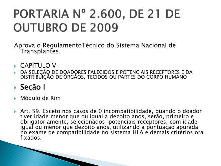 PORTARIA Nº 2.600, DE 21 DE OUTUBRO DE 2009