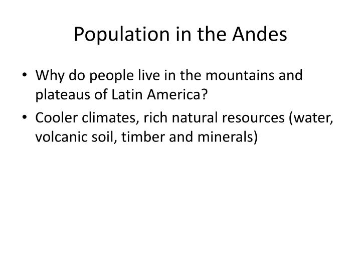 Population in the Andes
