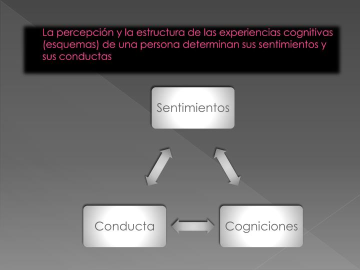 La percepción y la estructura de las experiencias cognitivas (esquemas) de una persona determinan sus sentimientos y sus conductas