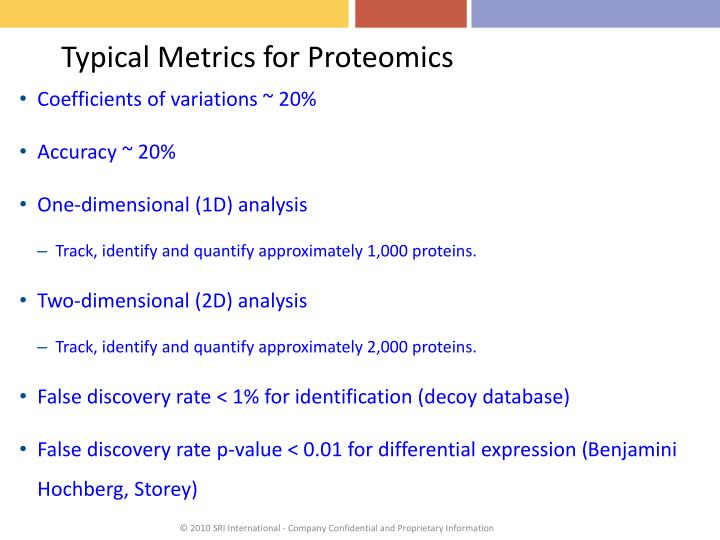 Typical Metrics for Proteomics