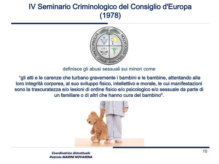 IV Seminario Criminologico del Consiglio d'Europa
