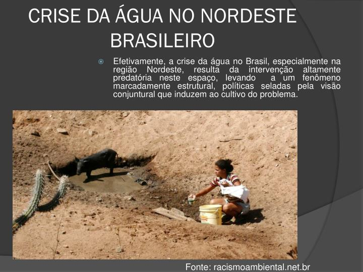 CRISE DA ÁGUA NO NORDESTE BRASILEIRO