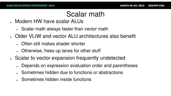 Scalar math