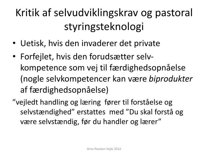Kritik af selvudviklingskrav og pastoral styringsteknologi