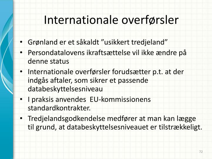 Internationale overførsler