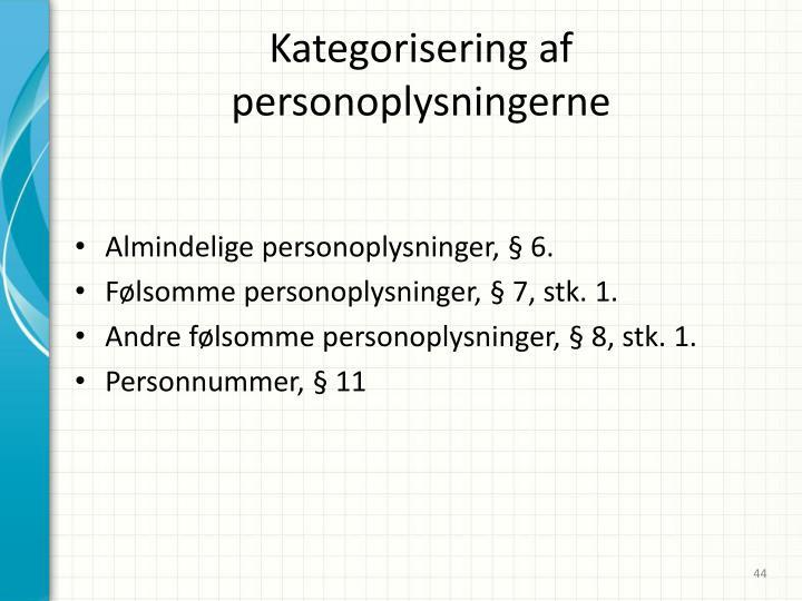 Kategorisering af personoplysningerne